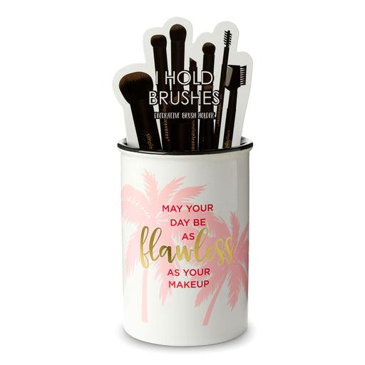 may your day be as flawless as your make up ceramic brush holder posh and pop