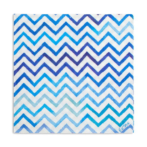 blue chevron cocktail napkins