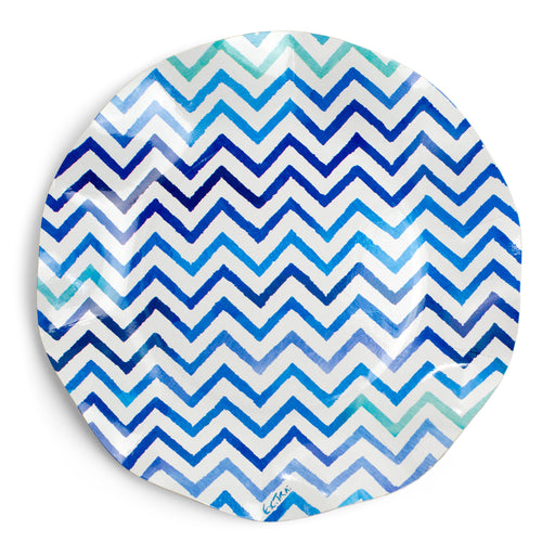 blue chevron paper party plate