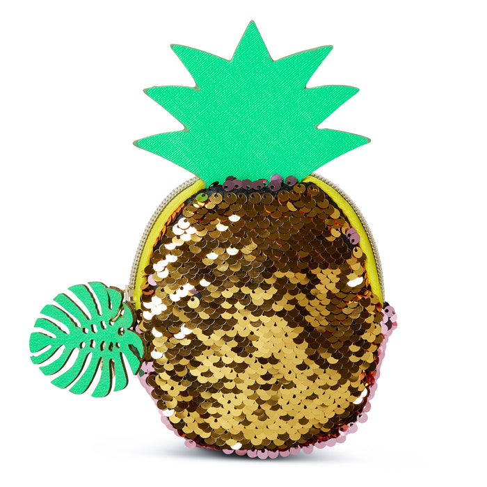 pineapple change purse sequined accessory posh and pop
