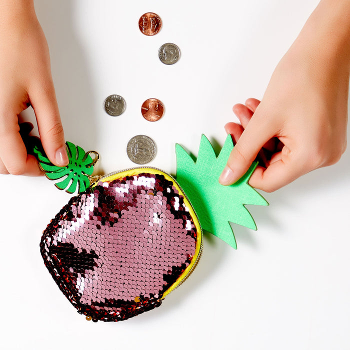 sequin pineapple coin purse - lifestyle - posh and pop