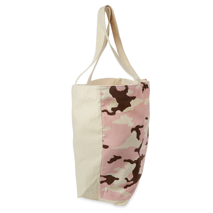 pink and brown oversized canvas tote bag with zipper pocket posh and pop