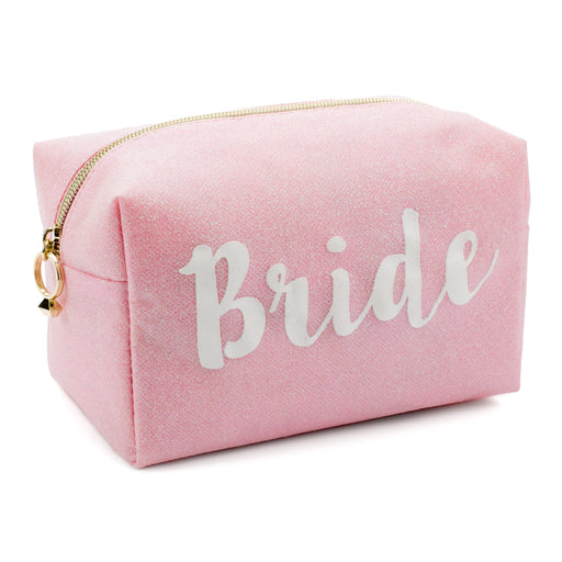 Makeup Bag - Bride - Pink Glitter