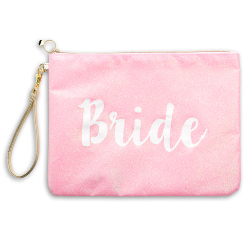 pink bride glitter wristlet posh and pop