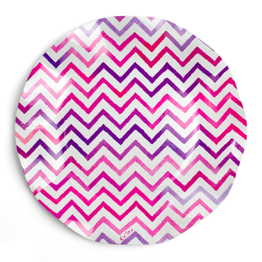 pink and purple paper party plates posh and pop