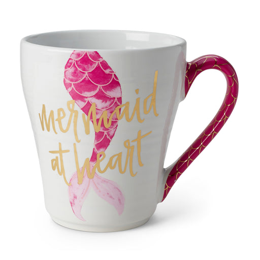 mermaid coffee mug in pink, ceramic mug, summer beach vibes