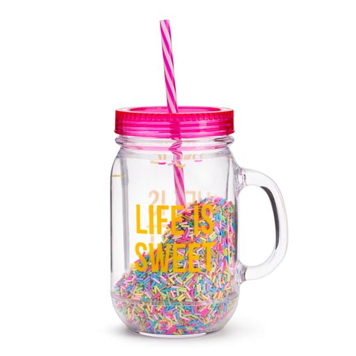 life is sweet travel plastic mason jar water bottle with straw posh and pop