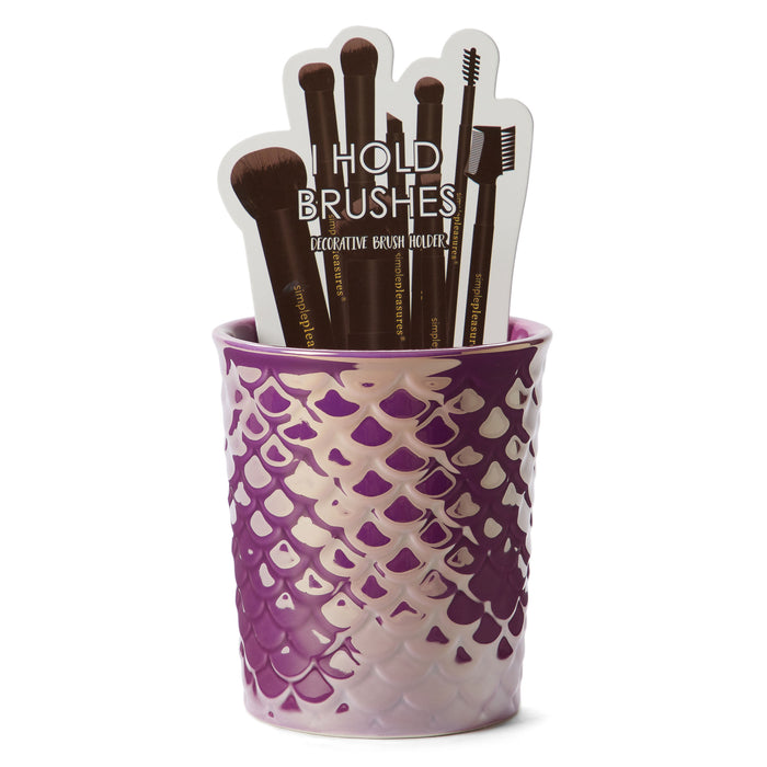 purple mermaid scales makeup brush holder posh and pop