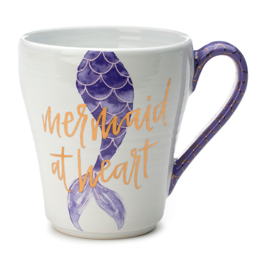 mermaid coffee mug in purple, ceramic mug, summer beach vibes