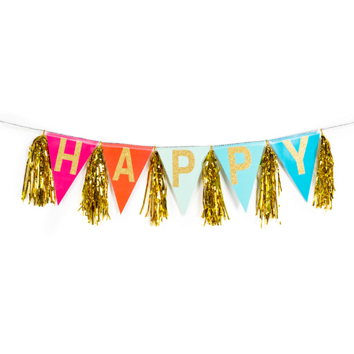 party decorations gold metallic happy rainbow banner