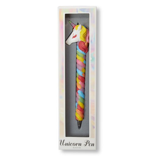 rainbow unicorn head pen with black in posh and pop