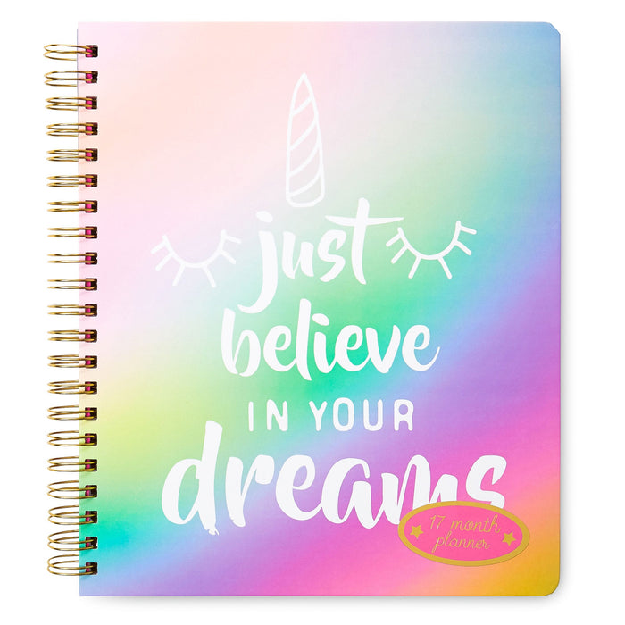 just believe in your dreams rainbow unicorn planner, 17 month agenda, posh and pop