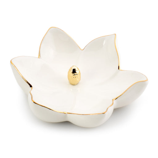 white flower ceramic ring and jewelry holder posh and pop