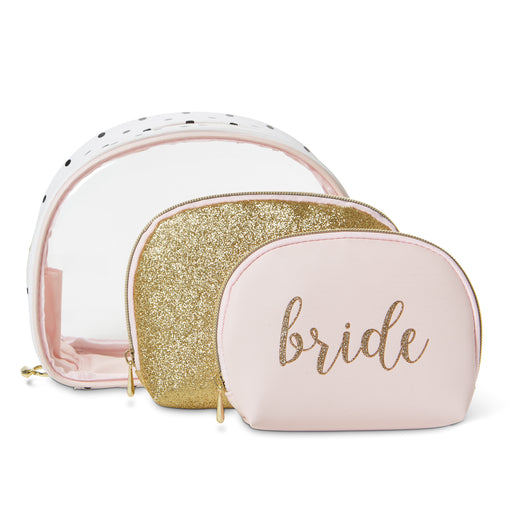 pink and gold bride accessories cosmetic bag posh and pop