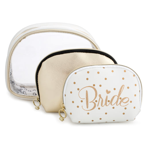 set of three white and gold bride cosmetic bags posh and pop
