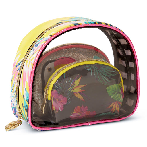 tropical cosmetic bags set of three posh and pop