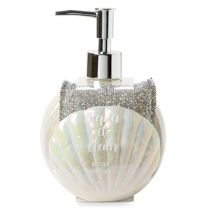 iridescent shell soap dispenser and sponge holder, kitchen accessories, posh and pop