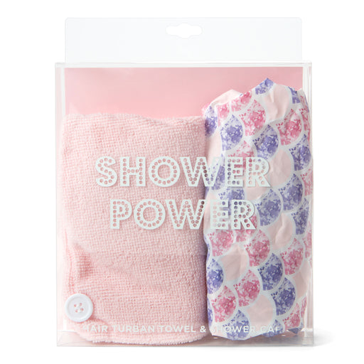 hair towel and shower cap duo posh and pop
