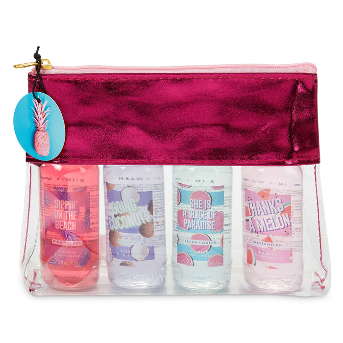 shower gels in clear bag tropical scents 4 pack posh and pop