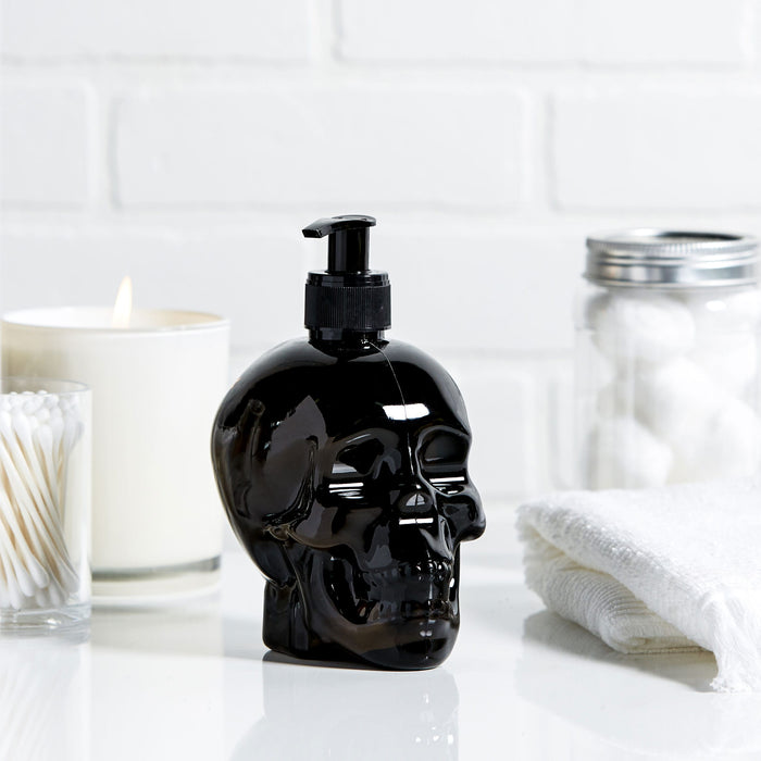 black skull soap dispenser, halloween soap, posh and pop