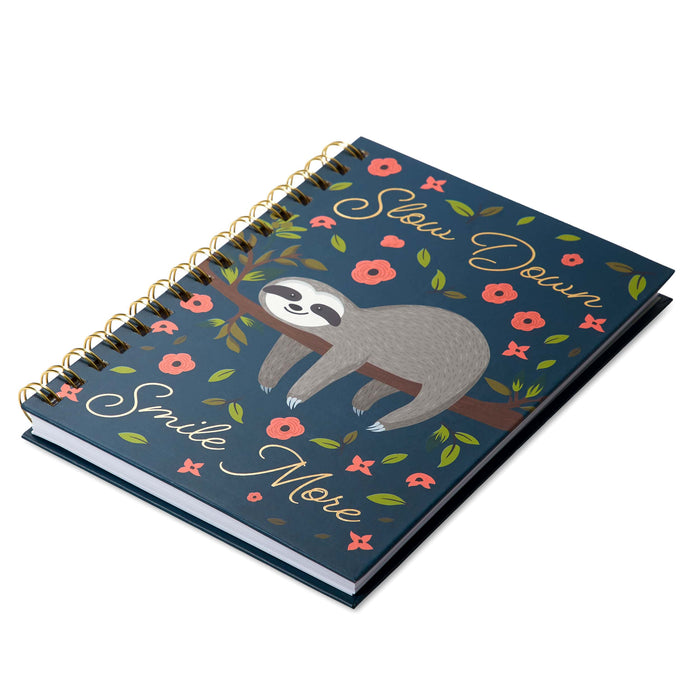 sloth notebook slow down smile more lined pages, posh and pop