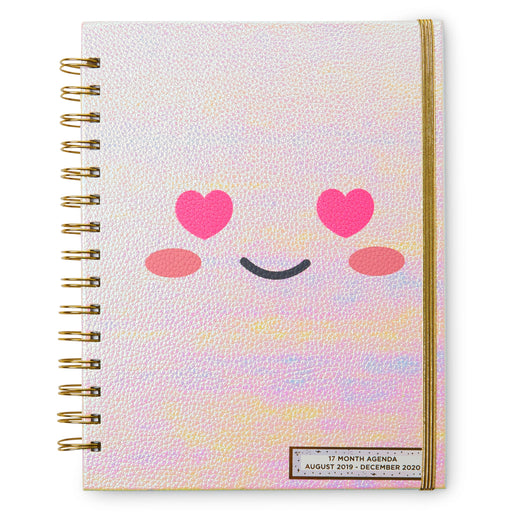 heart eyes smiley face agenda, 17 month planner, posh and pop