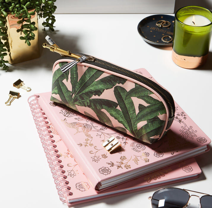 spiral-notebook-pencil-case-journal-organize-pink-palm-leaves-posh-and-pop