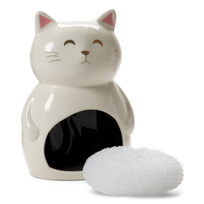 Sponge Holder - White Cat