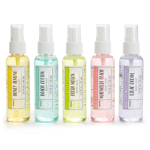 Set of five spring scented body mists from posh and pop