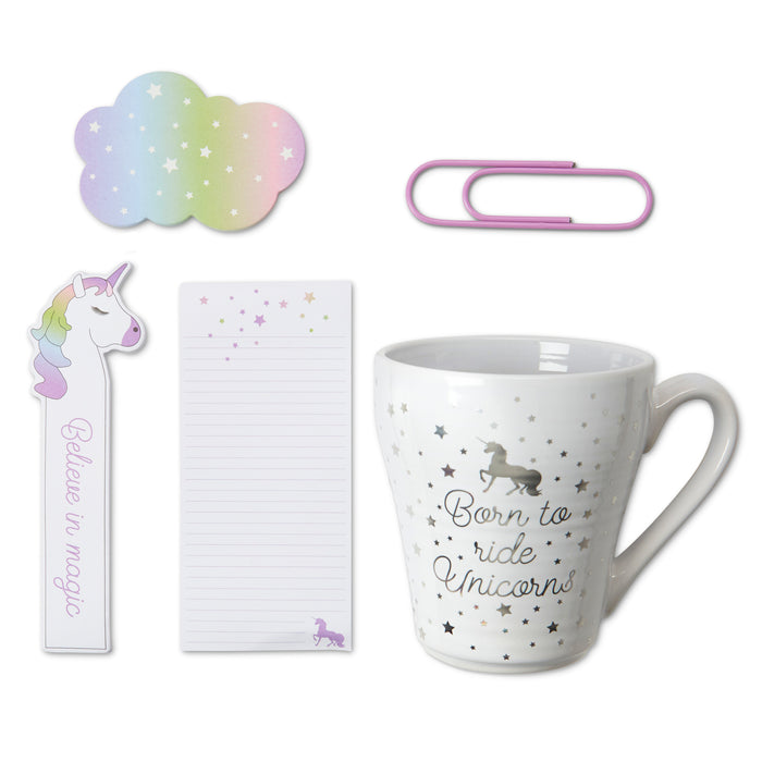 unicorn gift set mug with stationery posh and pop