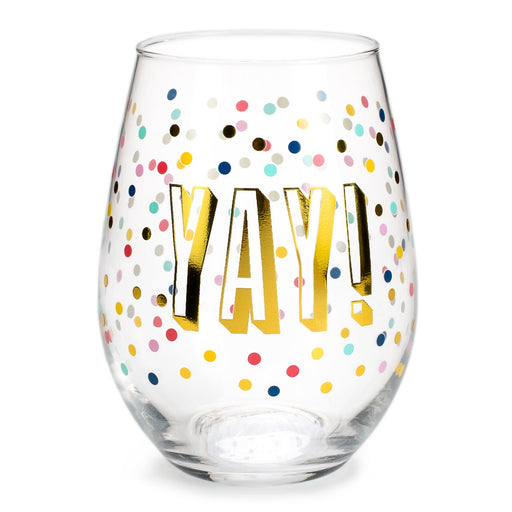 stemless wine glass yay with confetti posh and pop