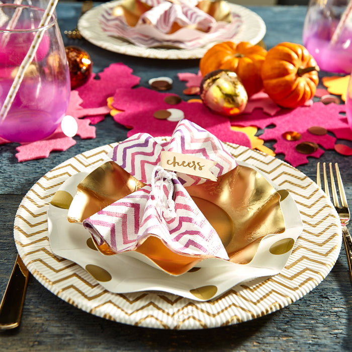 tablescape-gold-paper-plate-disposable-polkadot-pink-chevron-party-hostess-gather-celebrate-posh-and-pop