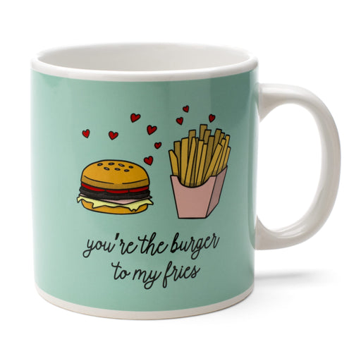 the burger to my fries ceramic novelty oversized mug posh and pop