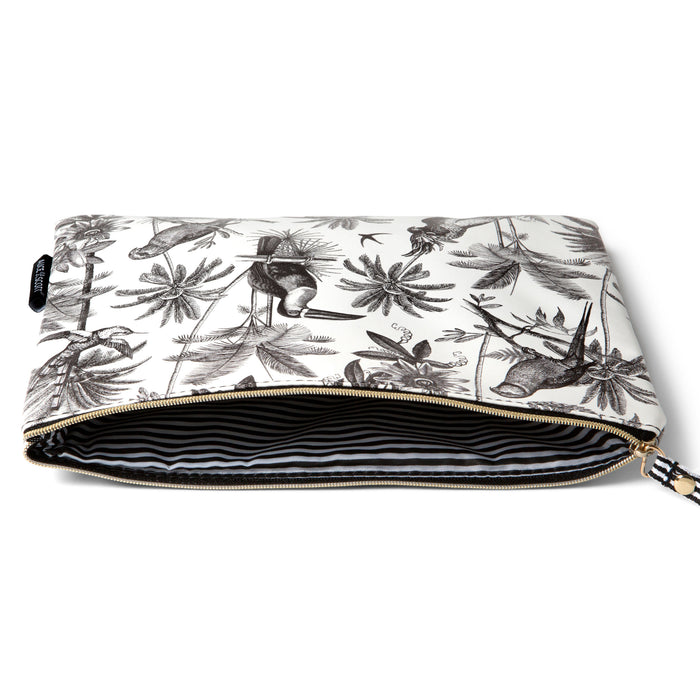 large tropical black and white pouch