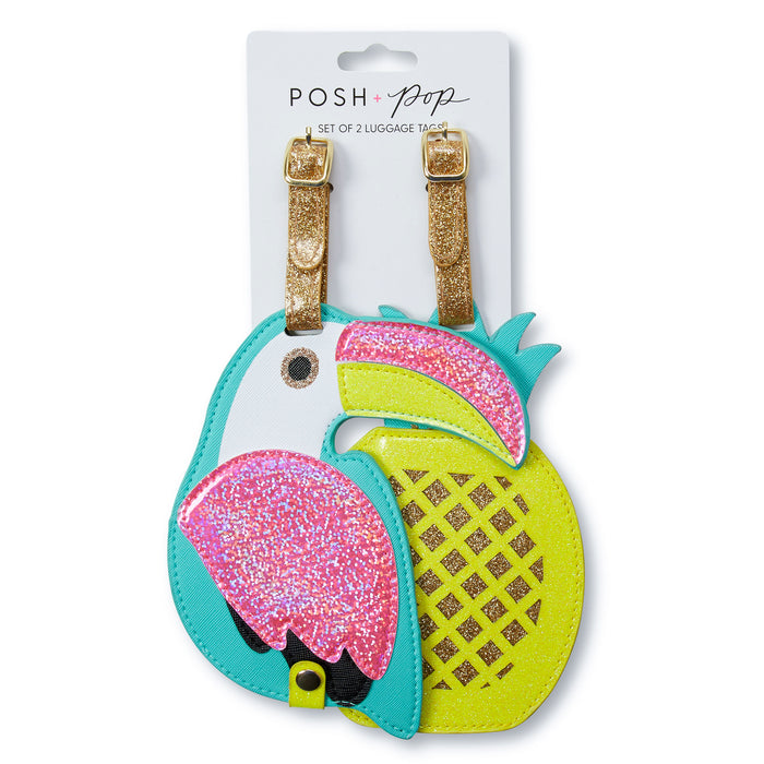 bright and tropical luggage tags toucan and pineapple shaped luggage tags posh and pop