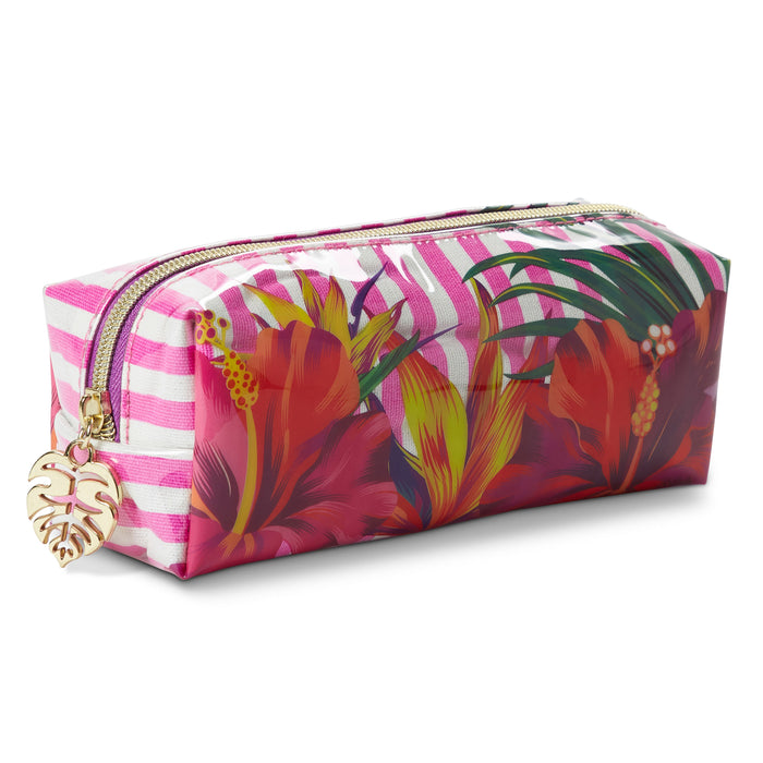 tropical flowers multi use pouch with palm leaf zipper posh and pop