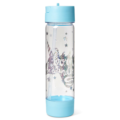 unicorn plastic water bottle with snack compartment posh and pop