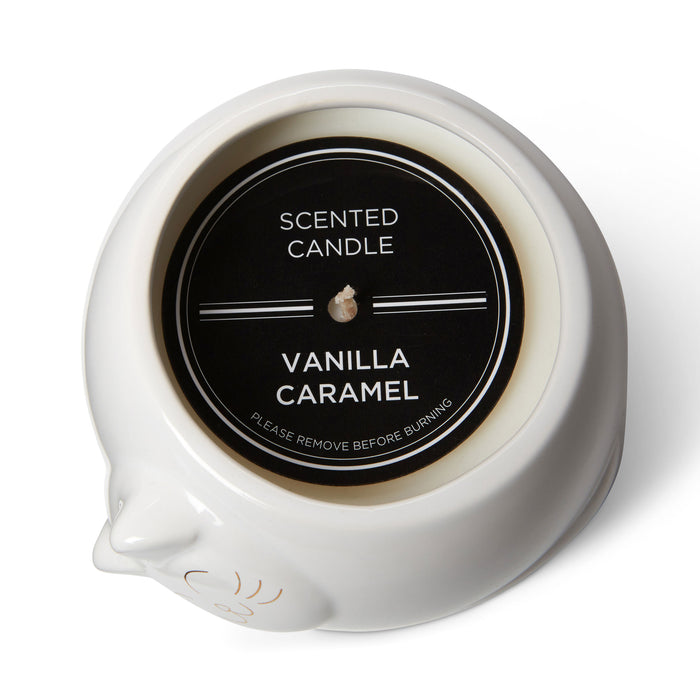 cat shaped vanilla caramel scented candle posh and pop