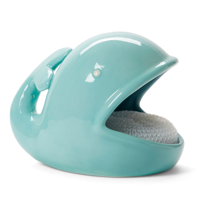 blue whale shaped ceramic sponge holder posh and pop