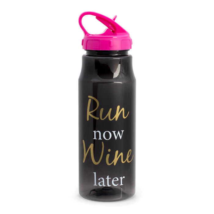 run now wine later pink and black plastic water bottle posh and pop