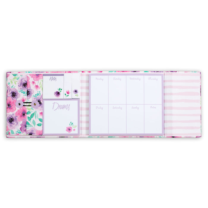 weekly organizer, floral cover, magnetic closure, weekly to do lists, posh and pop