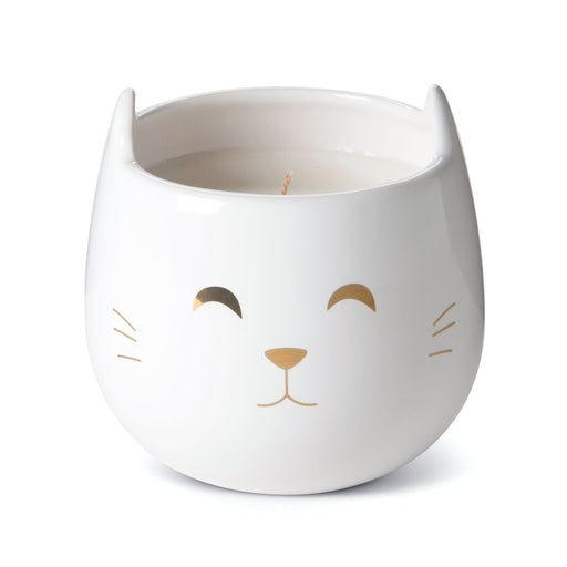 white cat candle, novelty ceramic candle, vanilla caramel scented, posh and pop