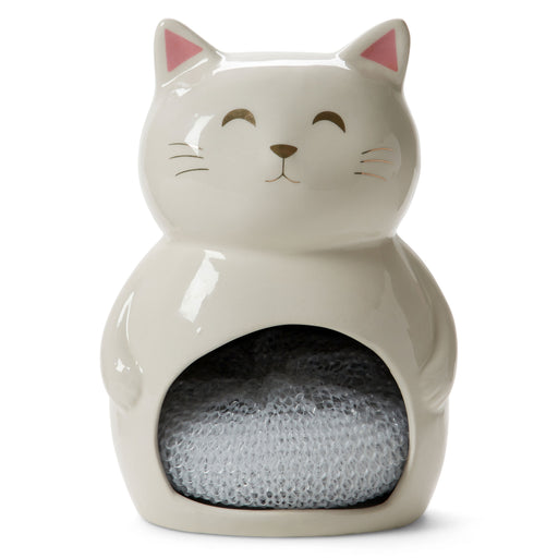 white cat ceramic sponge holder with one sponge posh and pop