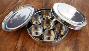 masala box for Ayurveda cooking - Stainless steel dabba