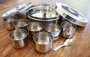 Ayurveda cooking spice storage in stainless steel masala dabba