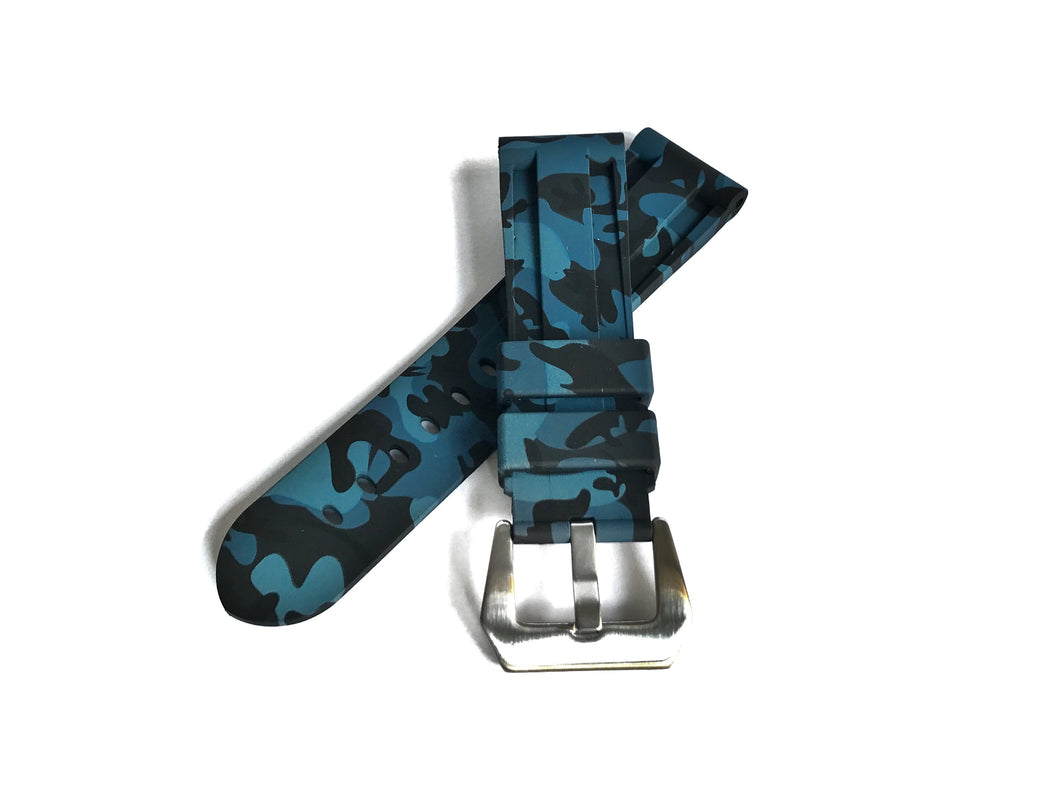 Blue Camo Rubber Strap (24mm)