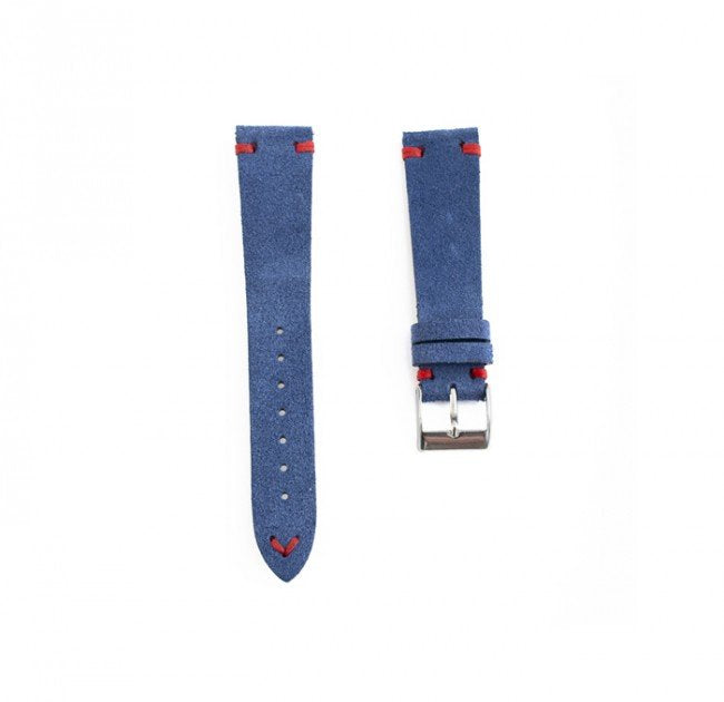 Blue suede strap (red stitching)