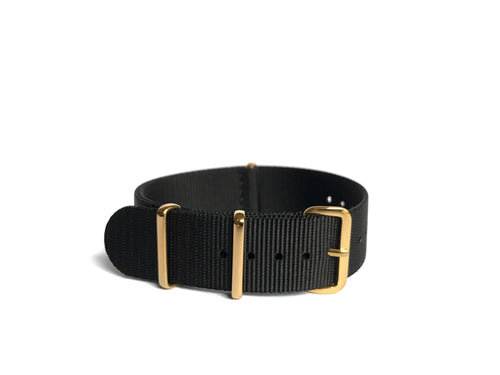 Black NATO Strap (gold hardware)