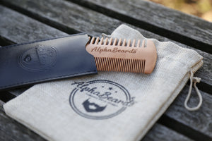 Alpha Beards Wooden Beard Comb, Including Travel Cloth Bag