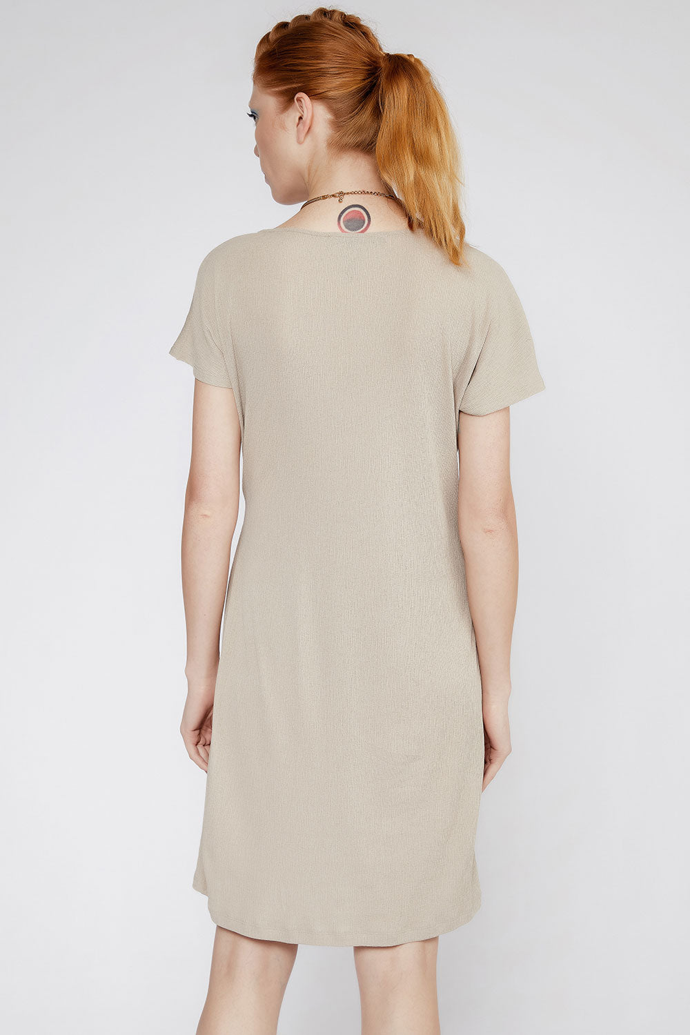 En Beige- Side Tie Dress